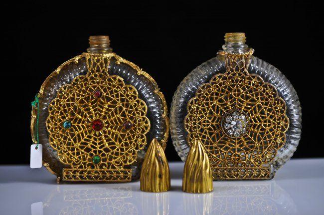 Pair of matching French multi stone perfume bottles