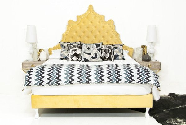 Casablanca Bed In Yellow Velvet Modshop Com Modern Beds And