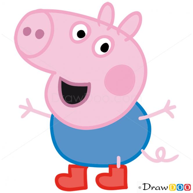 How to Draw George 1, Peppa Pig | artss | Peppa pig, Peppa pig