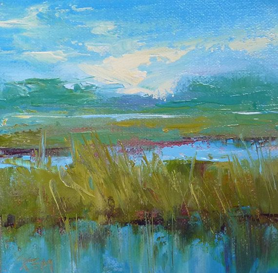 Lowcountry Marsh Contemporary Landscape acrylic by KarenMargulisFineArt,