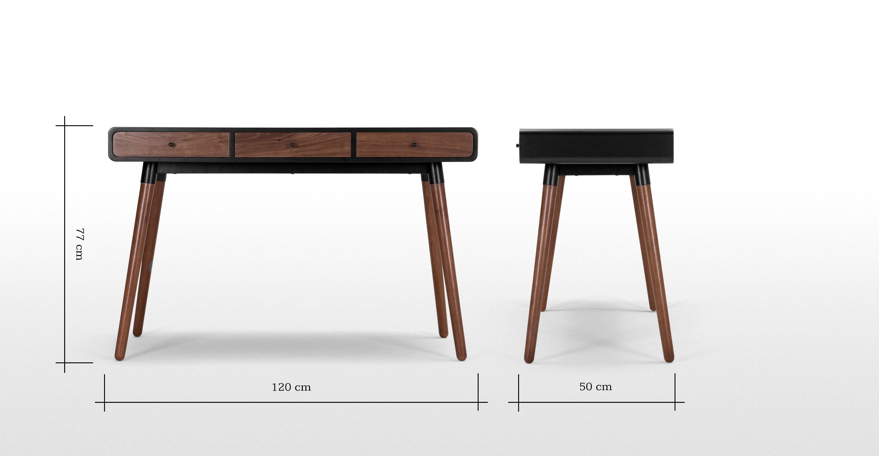 Edelweiss Desk Walnut And Black Schreibtisch Skandinavisches Design Tisch