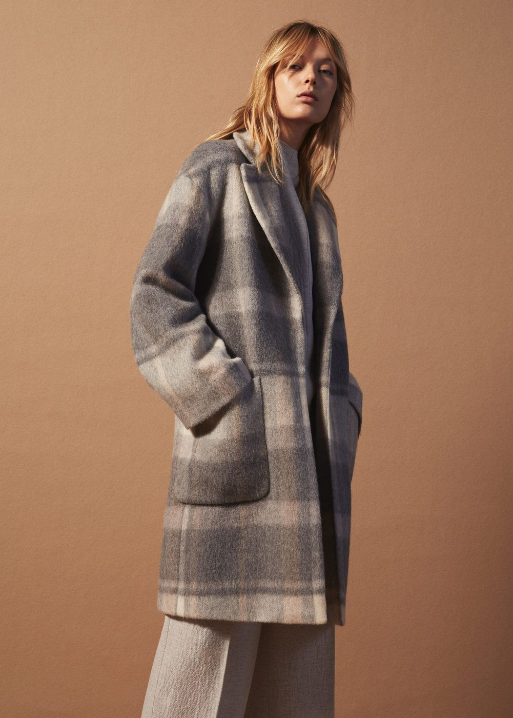 Check wool-blend coat | Wool blend, Coats and Clothing