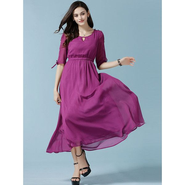 Purple Half Sleeve Cut Out High Waist Maxi Dress ($42) ❤ liked on Polyvore featuring dresses, cut out dress, high waist maxi dress, purple maxi dress, elbow sleeve dress and half sleeve dress