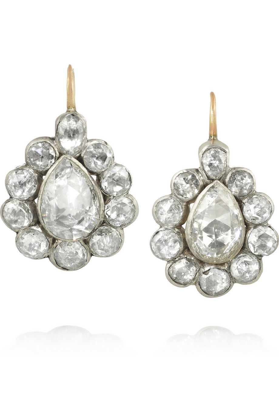 Olivia Collings 1900s 18-karat gold, silver and diamond earrings