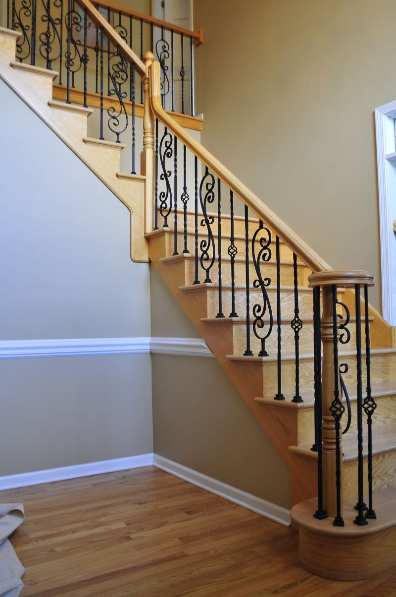 Pin By Karen Wasserleben On Appetizers Wrought Iron Stairs | Wrought Iron Staircase Spindles | Basement Stair | Rot Iron | Outdoor | Wooden French Country Newel Post | Foyer