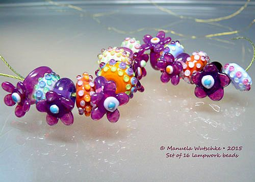 Artist Glass Lampwork Bead Sweet Sugar Pink by manuelawutschke