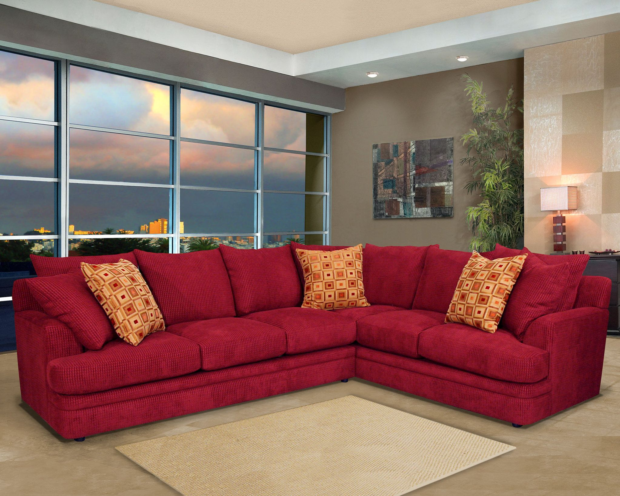 Furniture Trendy Red Style Living Room Sectionals Sofa Design With L Shaped And Cute Cushion Beautiful For Best