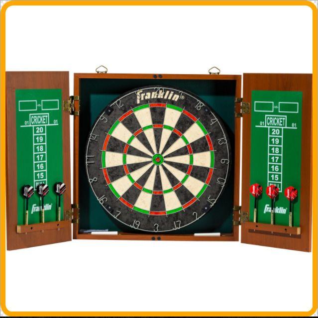 Professional Bristle Dartboard Cabinet Set Game Dart Board 6 Darts FAST  SHIPPING