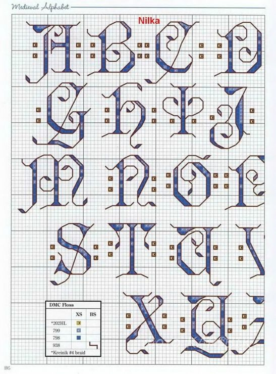medieval alphabet 1 of 4 cross stitch alphabet | mis tranajos para ...