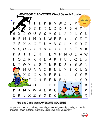 AWESOME ADVERBS WORD SEARCH PUZZLE Adverbs Wordsearch