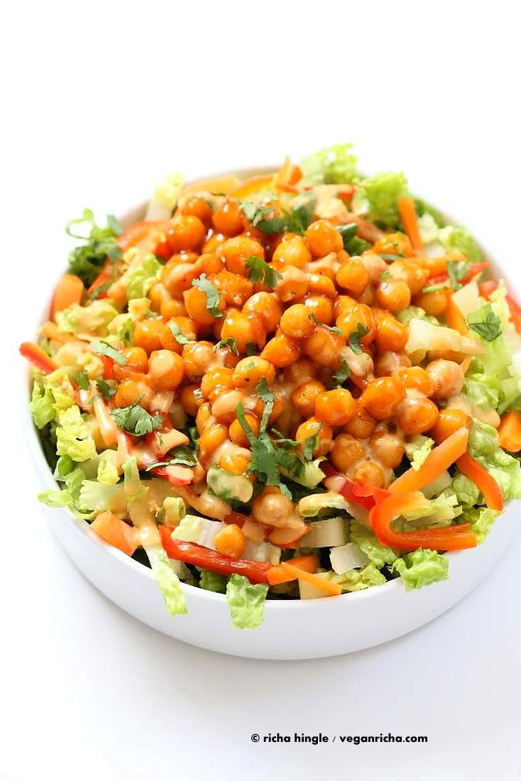 Crunchy Salad With Firecracker Chickpeas And Peanut Sauce