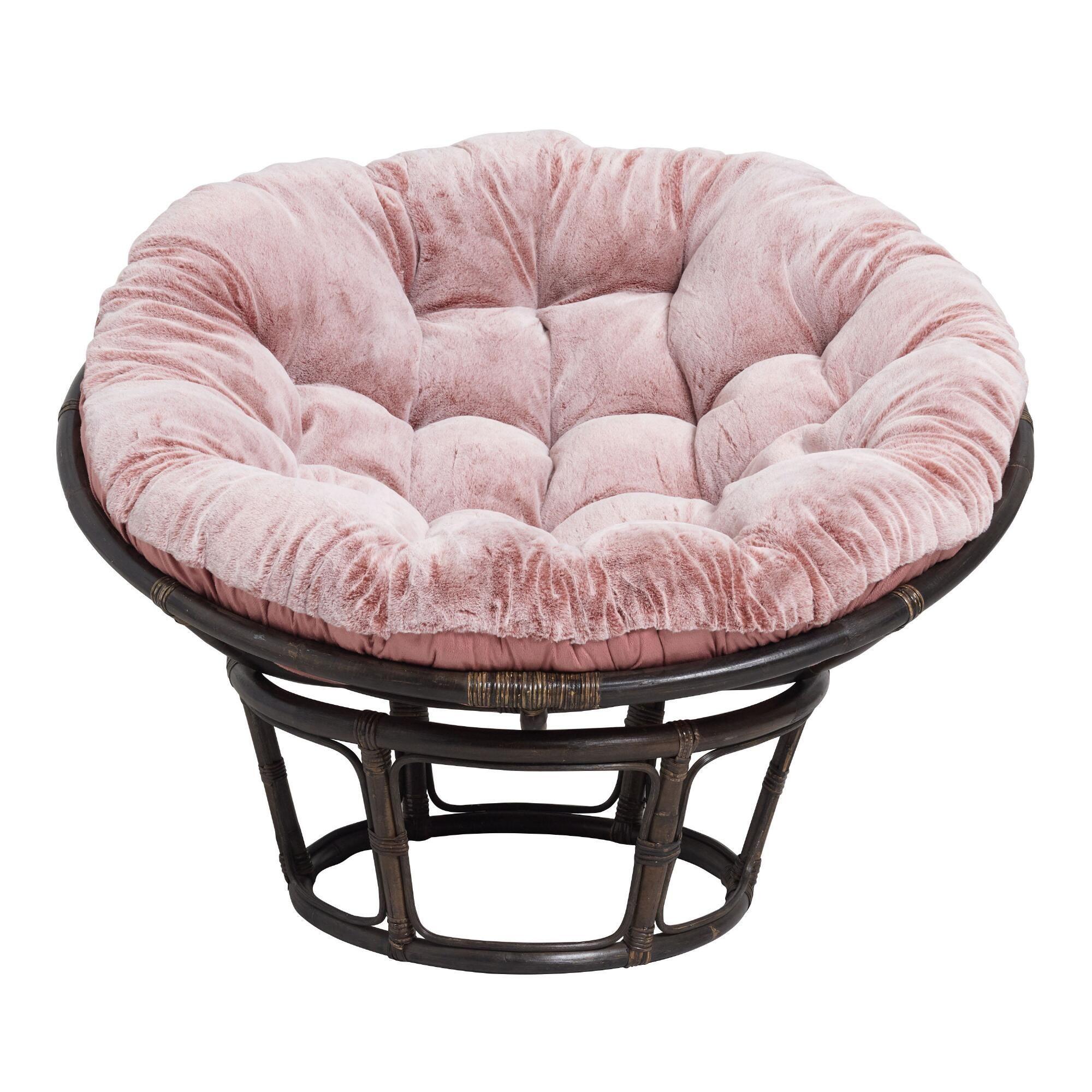 Dusty Rose Faux Fur Papasan Chair Cushion In 2020 Papasan Chair