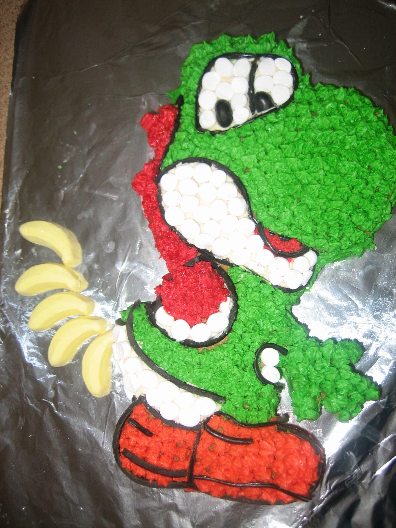 Pleasing Yoshi Cake Cupcake Cakes Boy Birthday Yoshi Funny Birthday Cards Online Necthendildamsfinfo