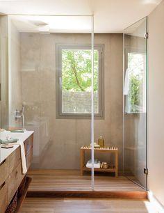 Modernes Bad Mit Holz Waschtischunterschrank Und Begehbarer Dusche |  Banheiros   Bathroom | Pinterest | Banheiros