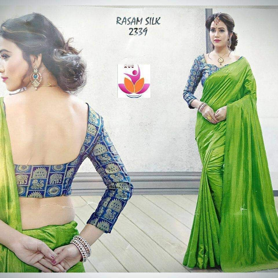 2e56b04f12684a Buy Online Fancy Silk Silky Plain Saree This silk saree comes with  beautiful silk fabric saree with peacock and elephant print on the blouse.