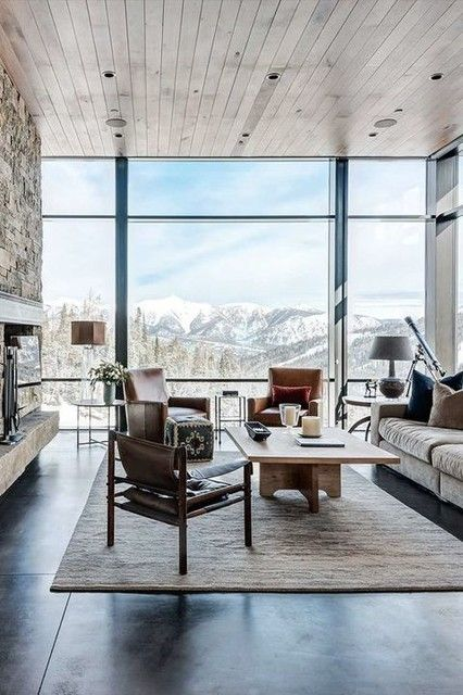 16 Glamorous Chalet Living Room Designs That Wows Interior Architecture Design Interior Architecture Modern House Design