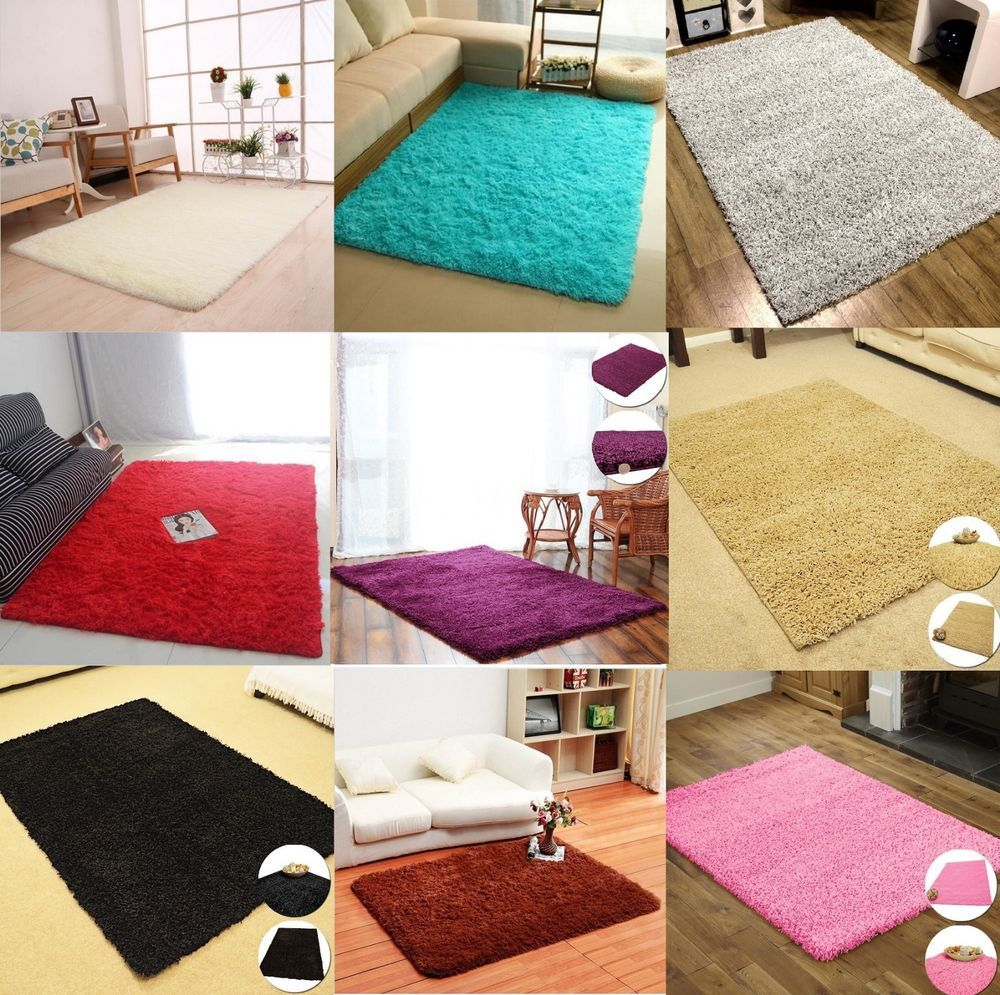 Details About Fluffy Shaggy Rugs Modern Living Room Thick Soft