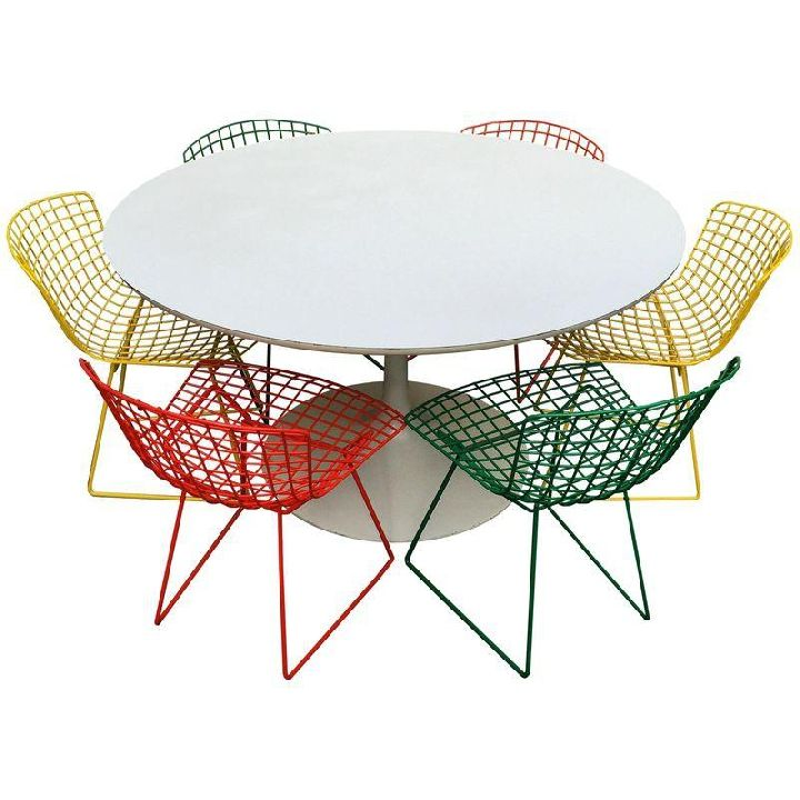 Colorful Bertoia Dining Chairs with White Tulip Table