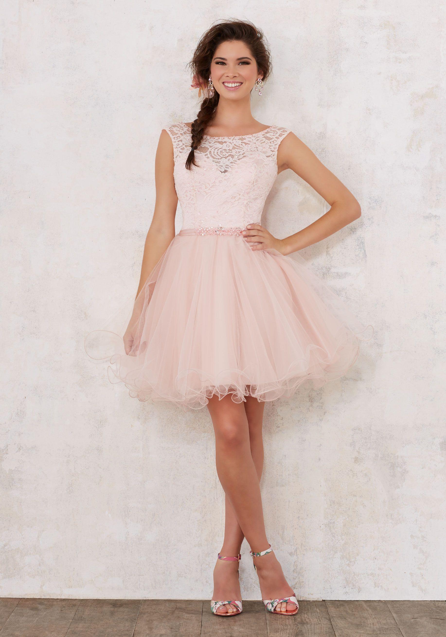 Satin Damas Dress with Beaded Waistband | Damas Style 9445 ...