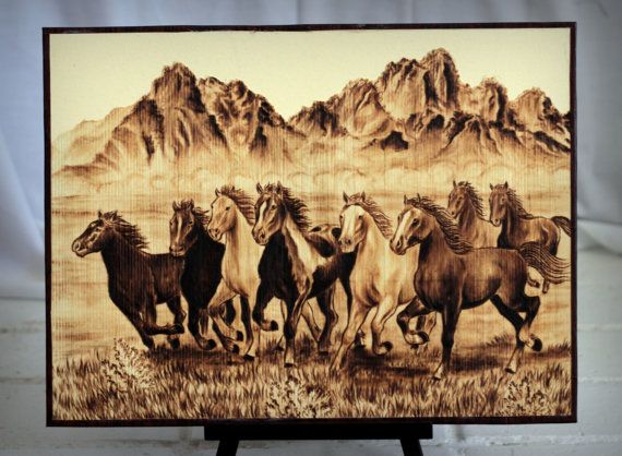 Horses Original Woodburned Art Pyrography Handmade By Exotixarts Pirogravura Pirografia 1