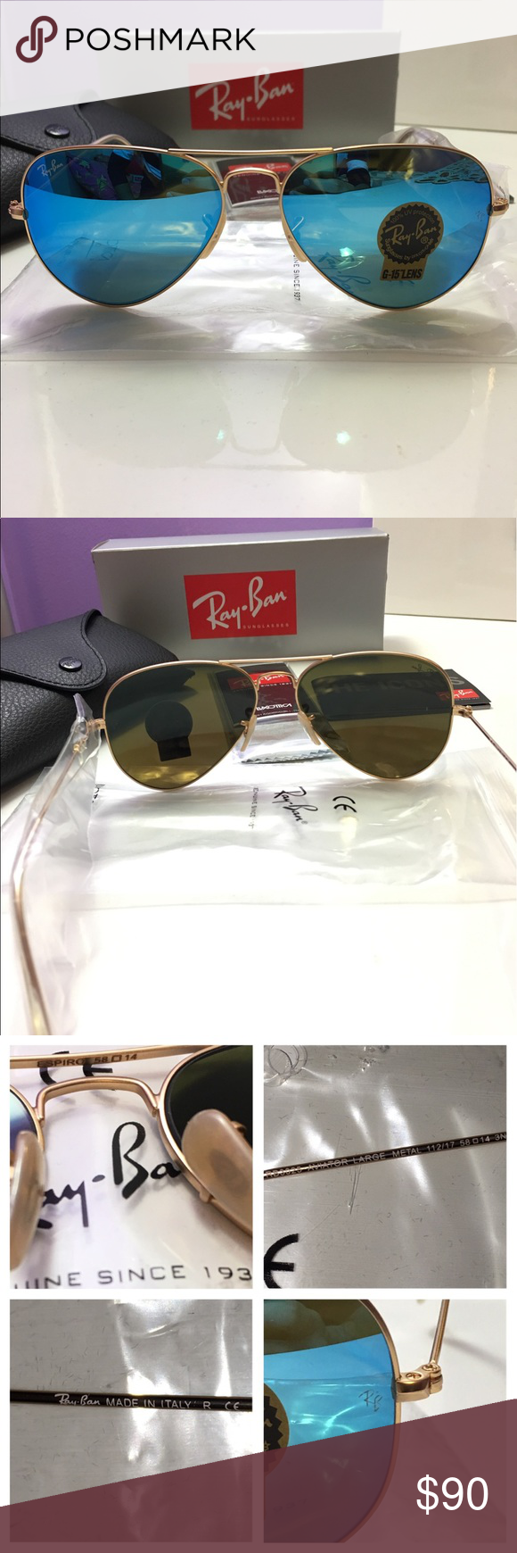Ray-Ban 3025 112 17 Aviator Blue Gold 58mm Ray-Ban 3025 112 17 Aviator  Blue Gold Gender  Unisex Model  RB112 17 Color Reference  Blue Lens Shape   Aviator ... a16217acbfa8