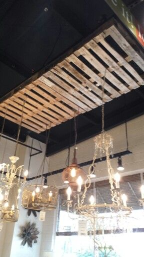 Pallets On Ceiling For Interest And Hanging Stuff Clever