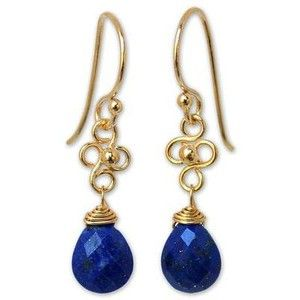NOVICA Gold Vermeil Lapis Lazuli Dangle Earrings