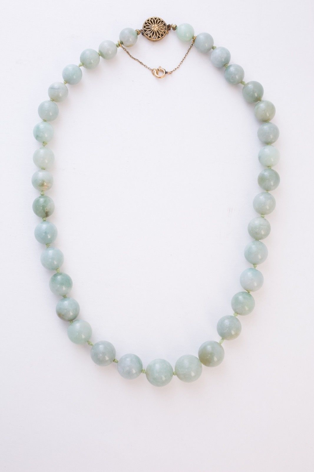 Jade necklace estate old antique green jade round