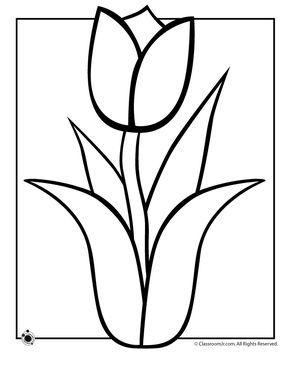 Spring Tulip Coloring Page Ilkbahar Elisleri Laleler Ve Boyama