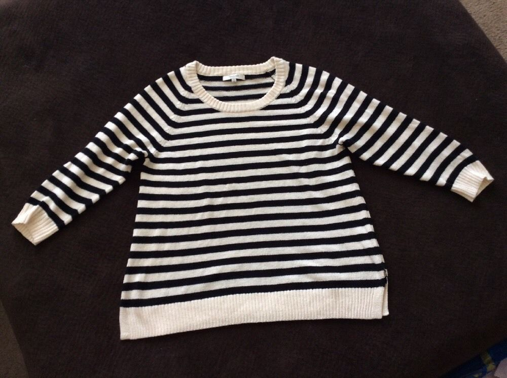Madewell Women's Black And Ivory Stride Linen Blend Sweater Small #Madewell #Pullover