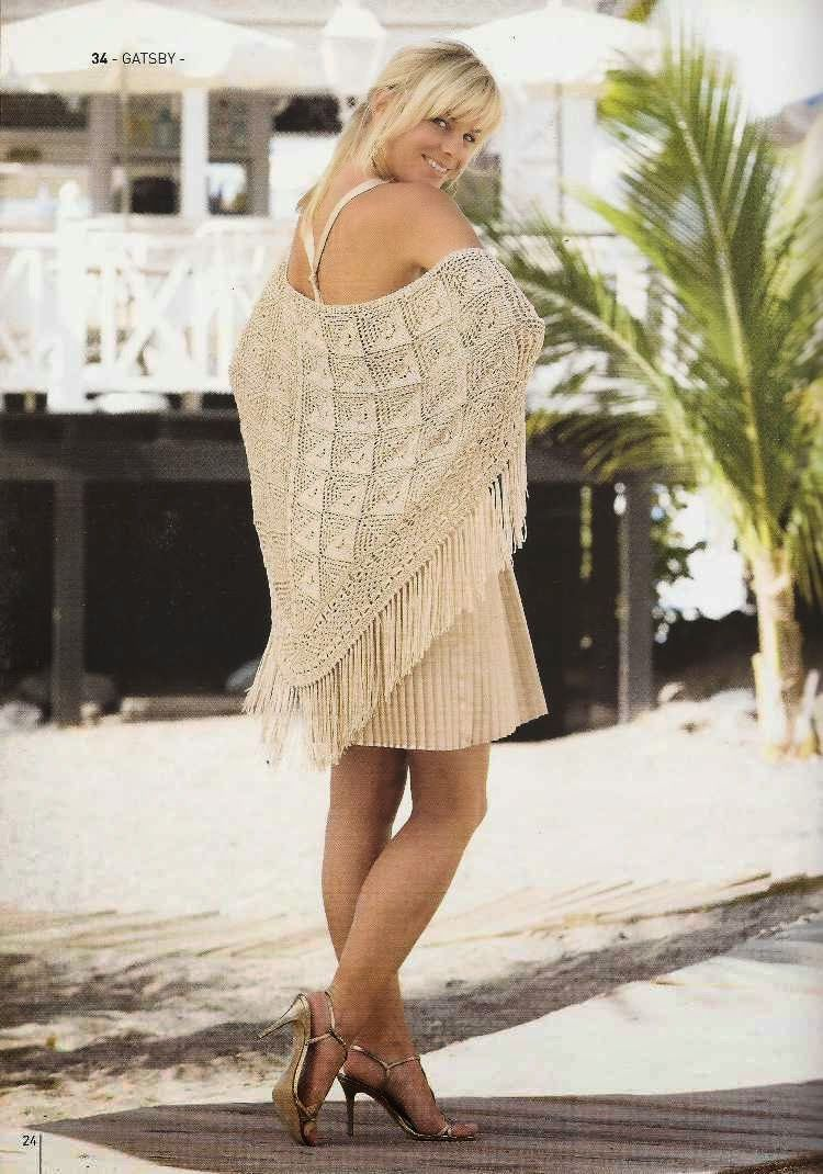 Patrón #66: Chal o Poncho a Dos Agujas #crochet  http://blgs.co/tzbI97