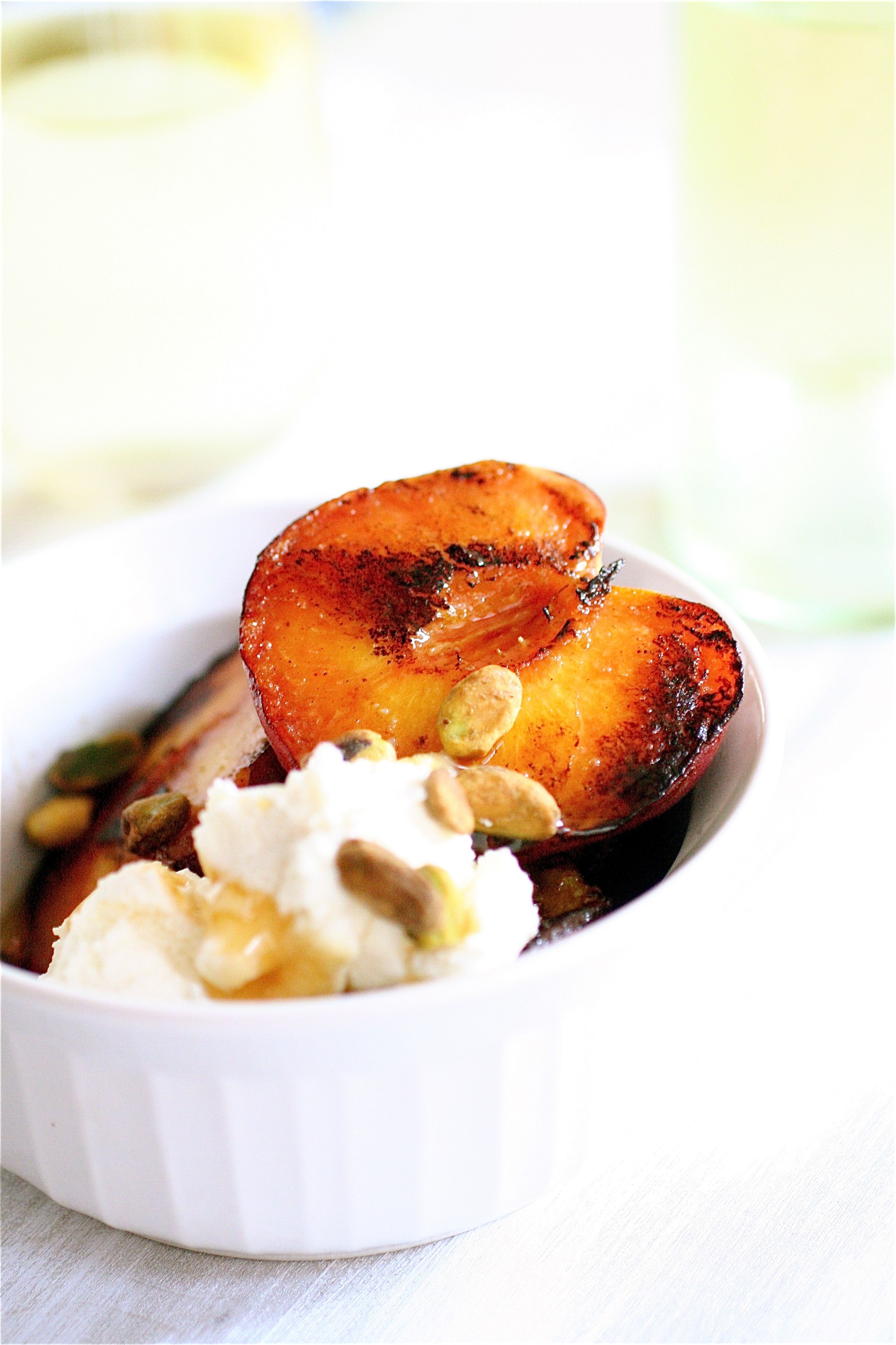 Grilled Peaches with Ricotta & Pistachios