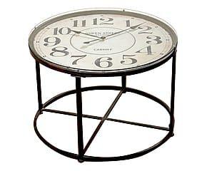 Tavolino tondo con orologio in metallo Danilo - 80x56 cm