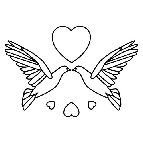 Free Wedding Doves Clipart 2 Bw
