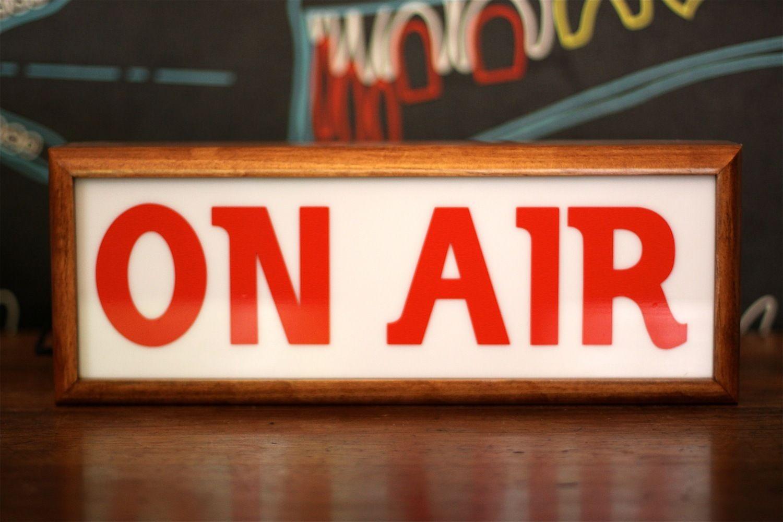 1950 S Style Light Box Sign On Air Radio Advertising Neon Sign Light Box Sign Radio Advertising Wooden Light