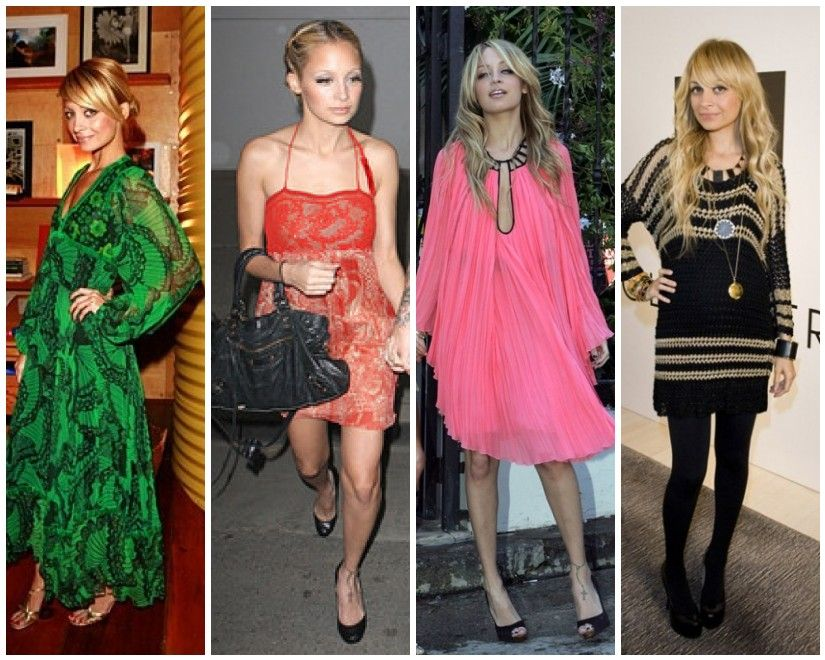 Style Icon Nicole Richie Red cocktail dress, Boho chic