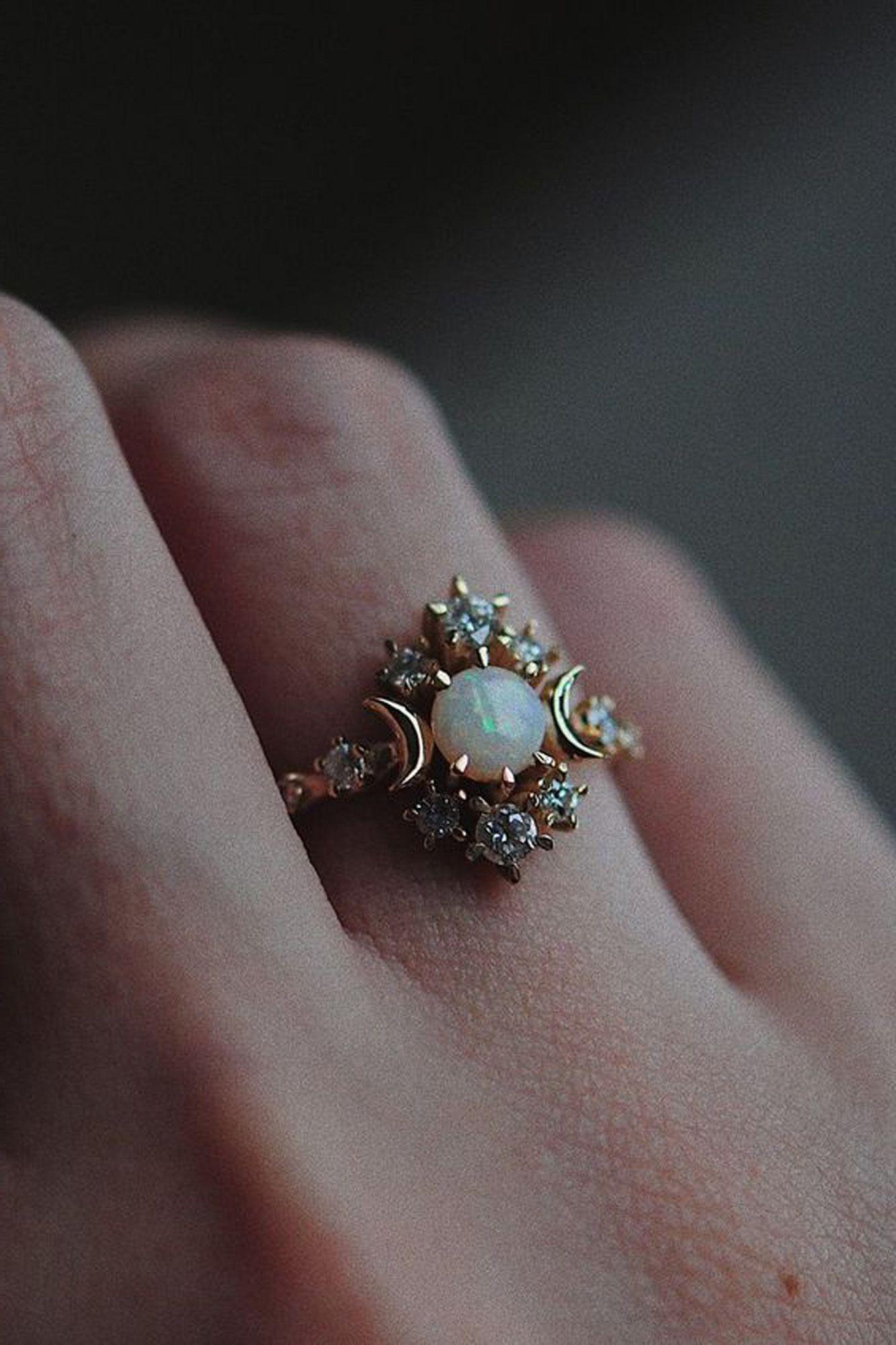 cute opal moon star crystal rings engagement wedding graduation for women for teen girls fashion jew