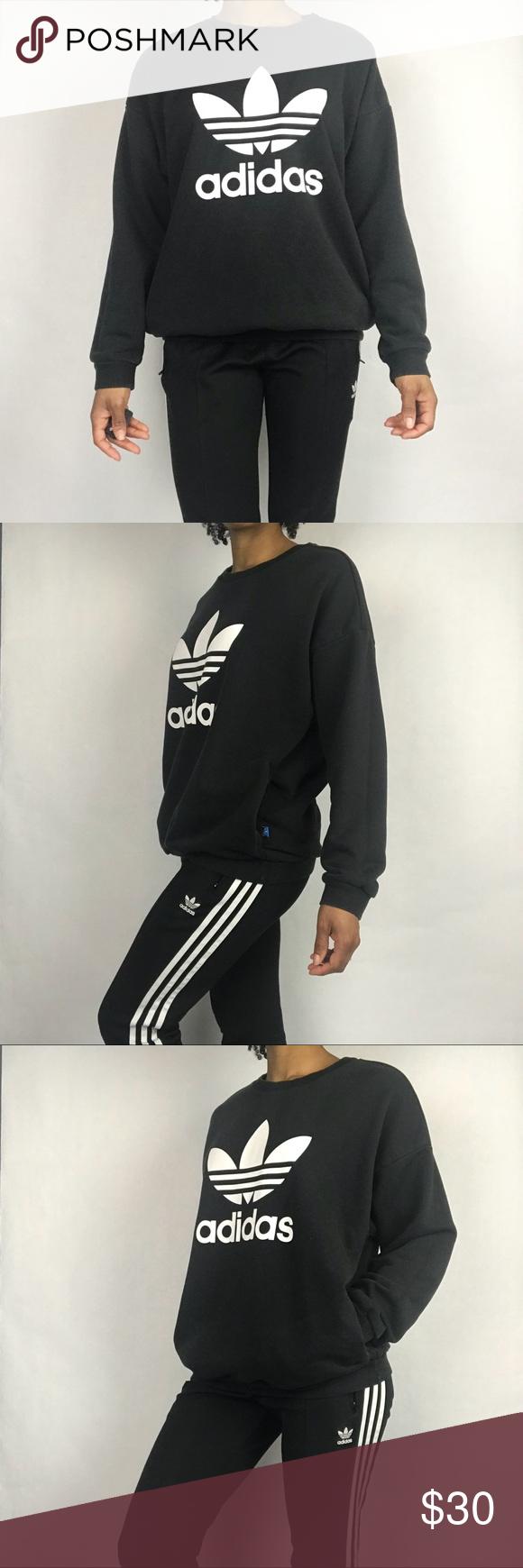 Adidas Originals Trefoil Logo Sweatshirt W Pockets Sweatshirts Adidas Tops Crew Neck Sweatshirt [ 1740 x 580 Pixel ]
