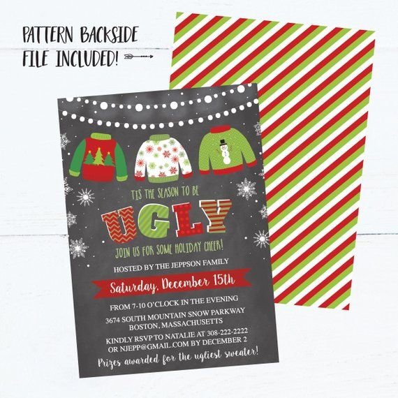 Christmas Party Invitation Template, Chalk Lights Ugly Sweater Party