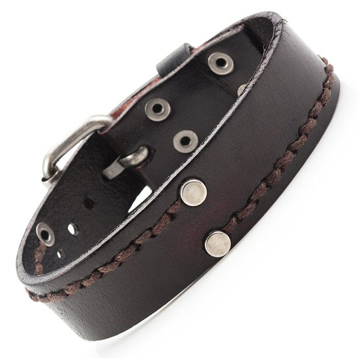Cosmo Cowboy Men's Vintage Genuine Leather Bracelet Cuff Adjustable 23mm