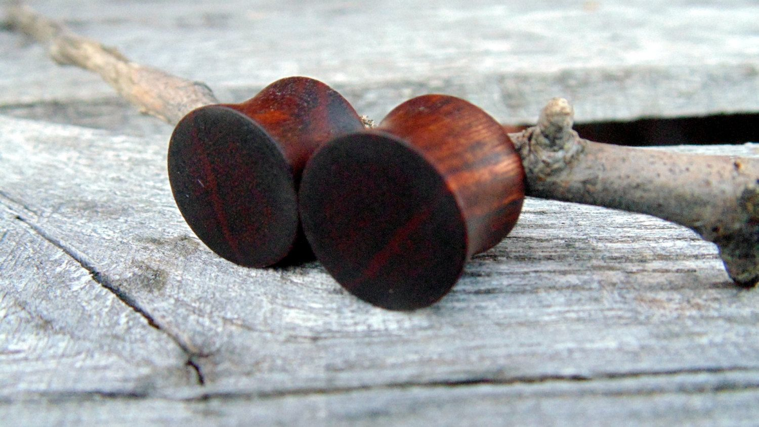 14mm Brown Ebony ear plugs, 9/16ths hand turned wooden gauges, organic wood plugs by MustLoveWoodPlugs on Etsy