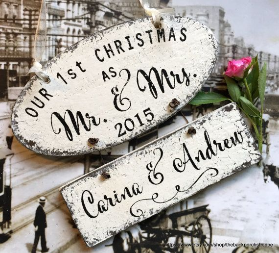 Our 1st CHRISTMAS ORNAMENT  Mr. and Mrs. by thebackporchshoppe