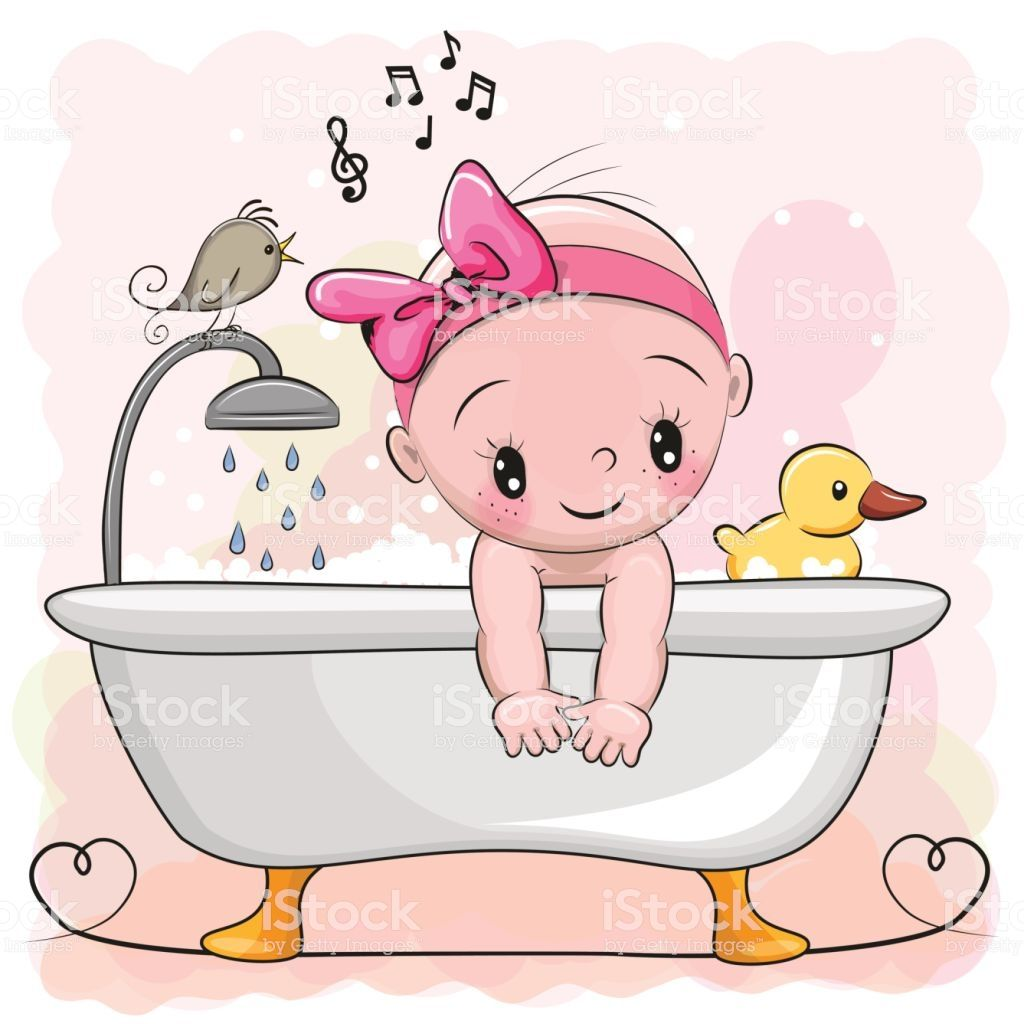 Girl In The Bathroom Royalty Free Girl In The Bathroom Stock Vector Art Amp More Images Of Animal Baby Cartoon Baby Girl Clipart Cute Cartoon