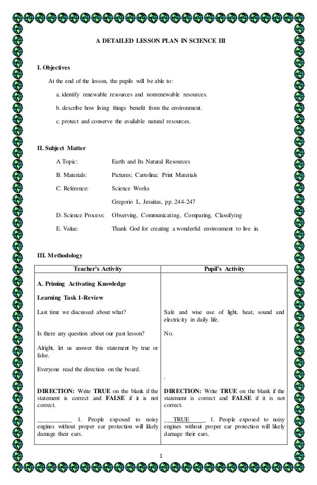 1 A DETAILED LESSON PLAN IN SCIENCE III I Objectives At the end - lesson plan objectives