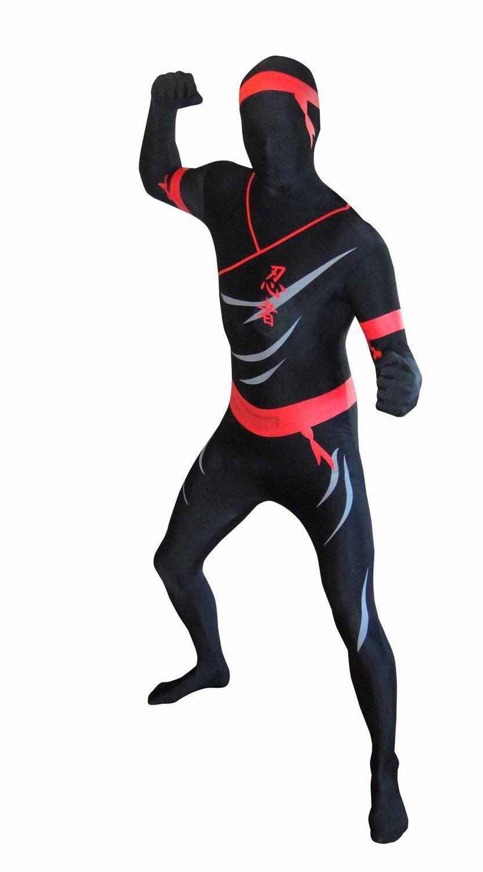 morphsuits premium ninja, black and red, halloween, costume, dress