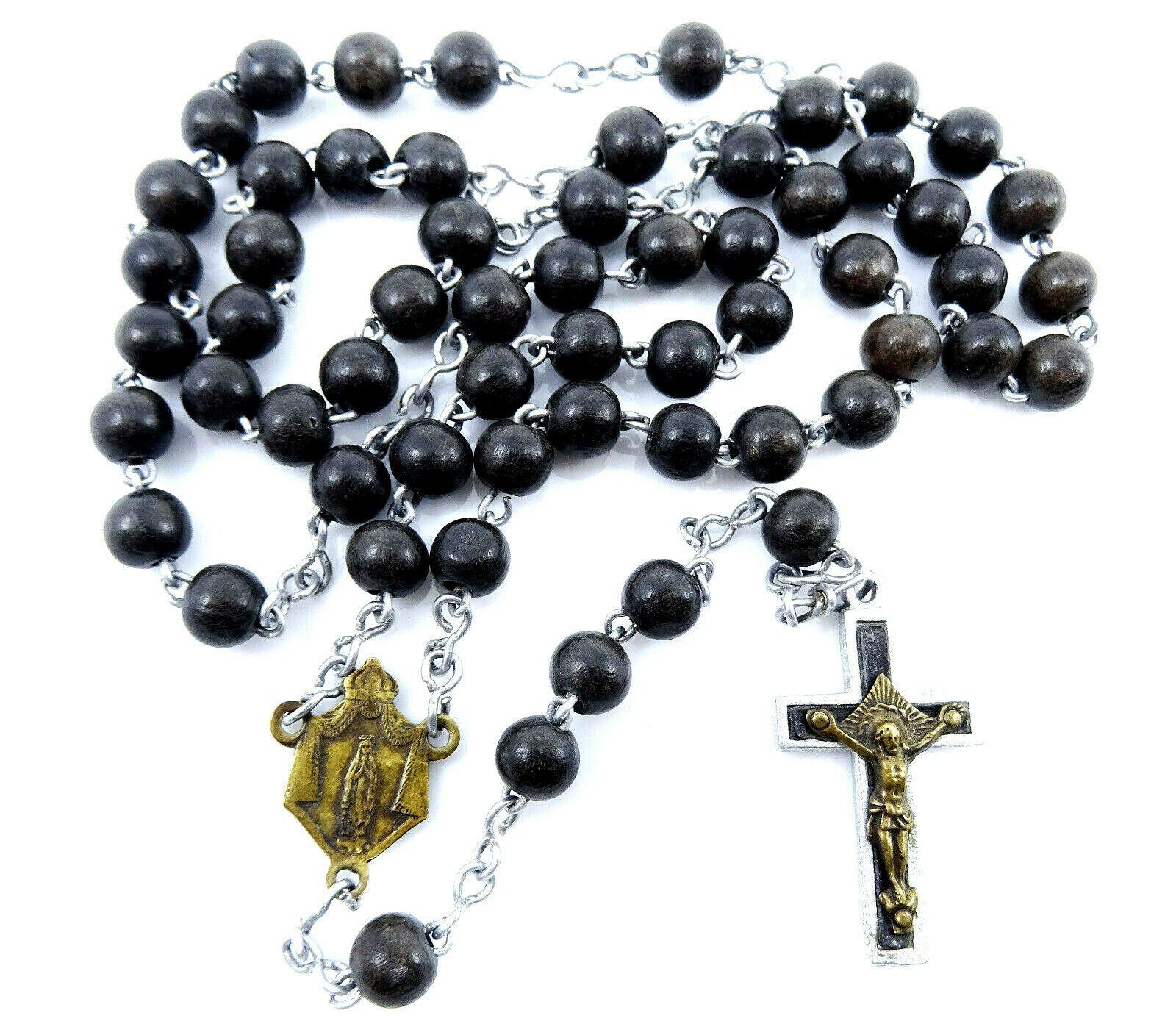 Vintage Catholic Rosary Our Lady of Lourdes Unusual Medal Black Beads #catholicrosaries