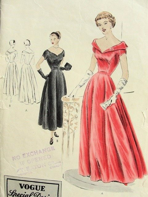 1940s Vogue Special Design 4042 Evening Gown Formal Party Wedding ...