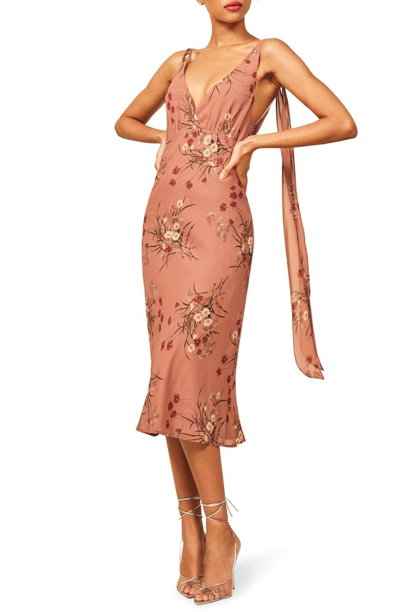 4bbab4f52cc Free shipping and returns on Reformation Venezia Dress at Nordstrom.com.  Trailing straps add dynamic movement to this alluring midi dress.
