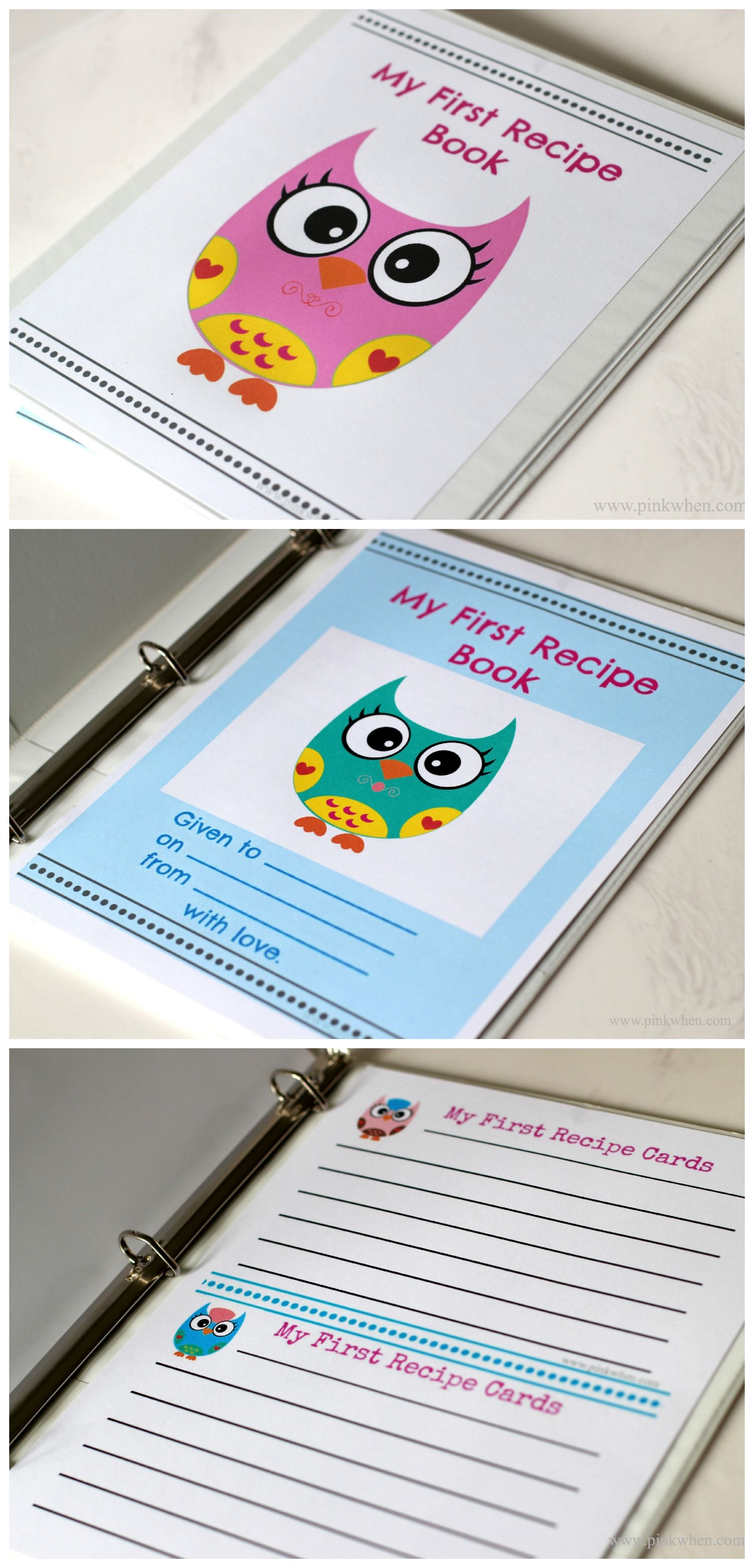 Cookbook Cover Template Maker ~ A sweet set of owl printables for the little ones fist recipe book