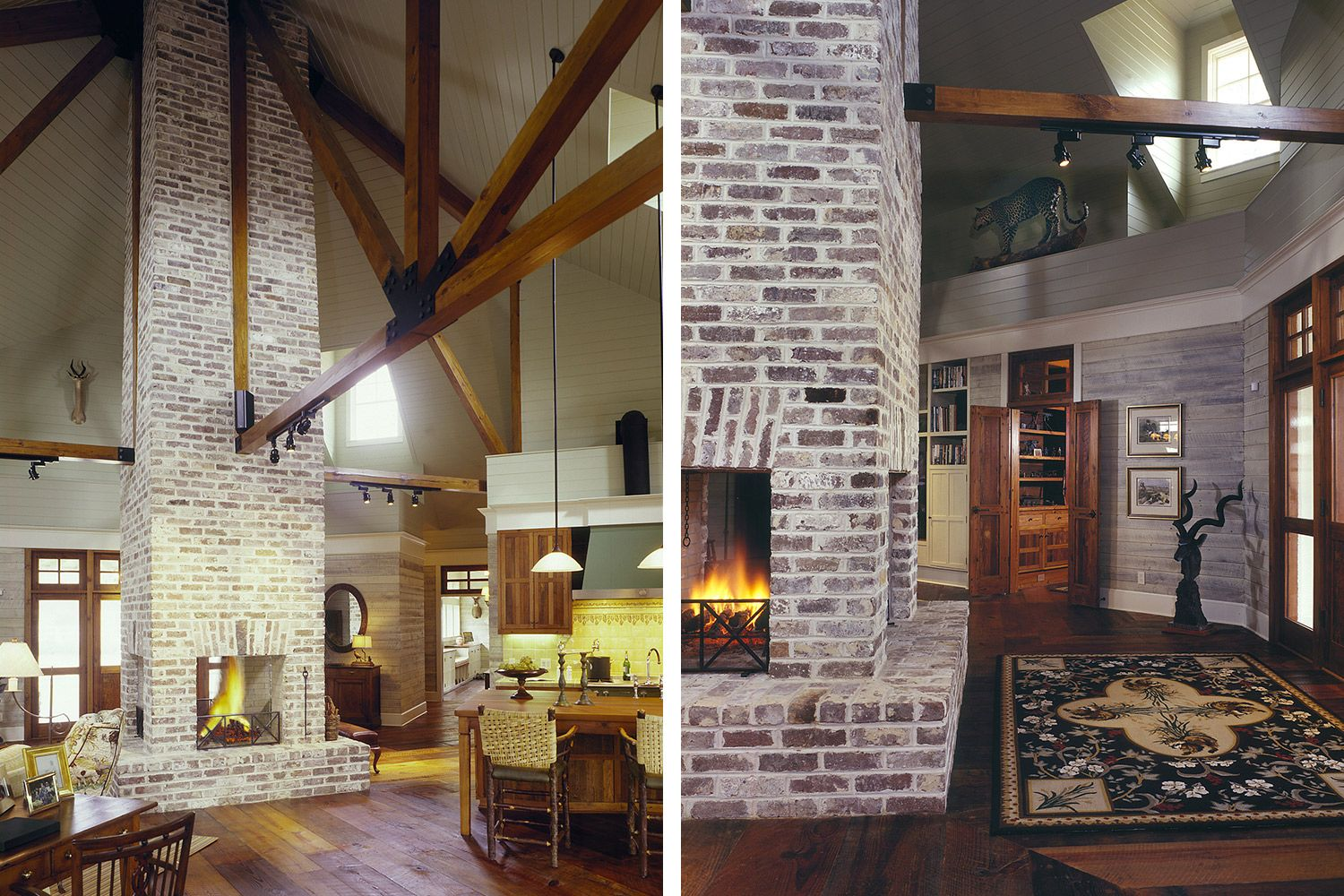 Great room with brick fireplace Dream house Pinterest House